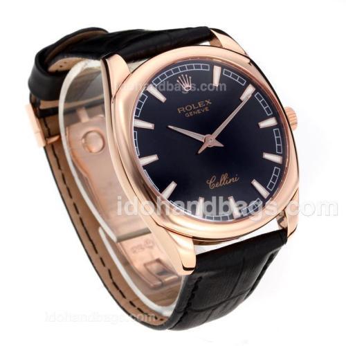 Rolex Cellini Luminous Swiss ETA Movement Rose Gold Case with Black Dial-Leather Strap-Sapphire Glass 194528