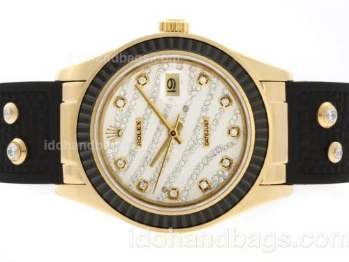 Rolex Datejust Automatic Gold Case Diamond Marking with Black Ruby Bezel-White Diamond Crested Dial 36657