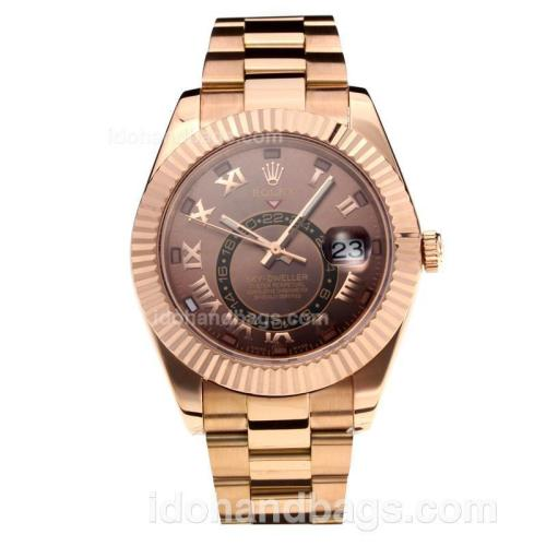 Rolex Sky Dweller Automatic Full Rose Gold with Coffee Dial-Roman Markers-Same Chassis as the Swiss Version 195266