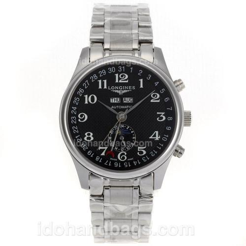 Longines Master Collection Automatic Number Markers with Black Dial S/S 51712