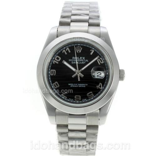 Rolex Datejust II Automatic Number Markers with Black Waved Dial S/S 125482