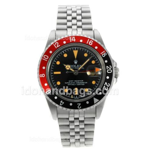 Rolex GMT-Master Swiss ETA 2836 Movement with Black Dial Orange Markers-Vintage Edition 126776