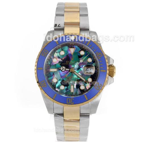 Rolex Submariner Automatic Two Tone Blue Ceramic Bezel with Puzzle Style MOP Dial-Sapphire Glass 119224
