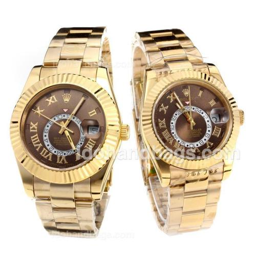 Rolex Sky Dweller Automatic Full Yellow Gold with Coffee Dial 203156