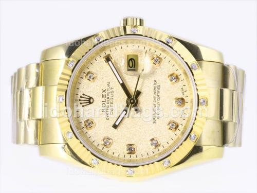 Rolex Datejust Automatic Full Gold Diamond Marking with Champagne Dial 23377