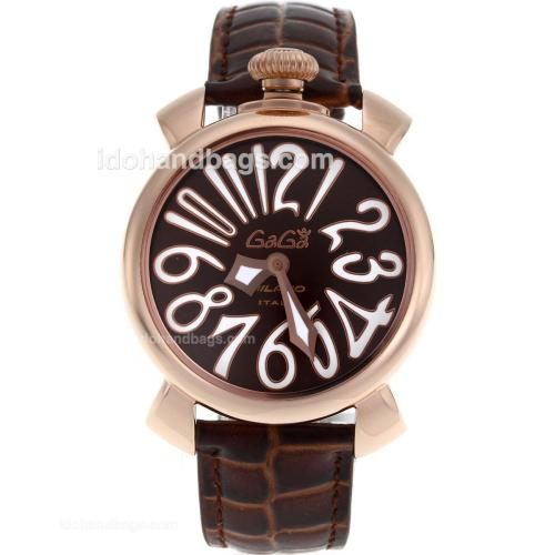 Gaga Milano Slim 40mm Rose Gold Case with Brown Dial White Markers-Leather Strap 119030