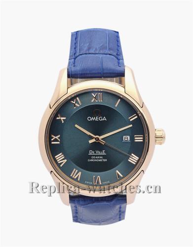 Omega De Ville Hour Vision Blue Leather Strap 41 MM
