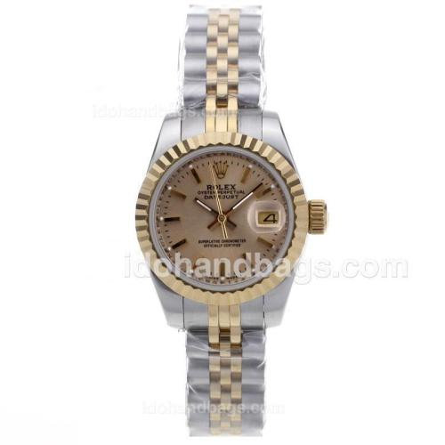 Rolex Datejust Automatic Two Tone with Golden Dial 15055