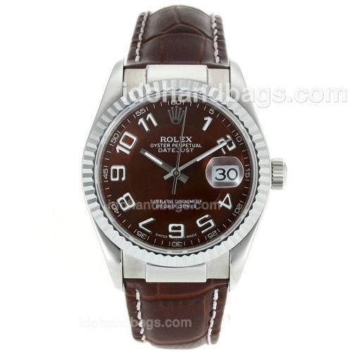 Rolex Datejust Swiss ETA 2836 Movement Number Markers with Brown Dial-Leather Strap 112344