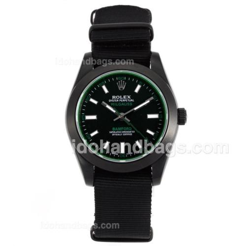 Rolex Milgauss Bamford Automatic PVD Case with Black Dial-Nylon Strap-Tinted Green Glass 55860