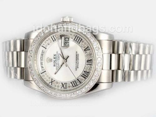 Rolex Day-Date Automatic Diamond Bezel with White Dial 18292