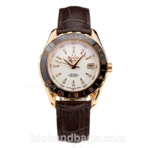 Omega Seamaster GMT Rose Gold Case Ceramic Bezel with White Dial-Leather Strap-Sapphire Glass 181672