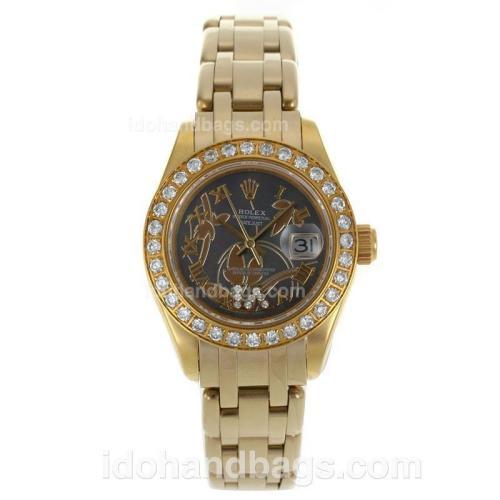 Rolex Masterpiece Swiss ETA 2671 Movement Full Gold Diamond Bezel Roman Markers with Black Dial-Flowers Illustration 116234