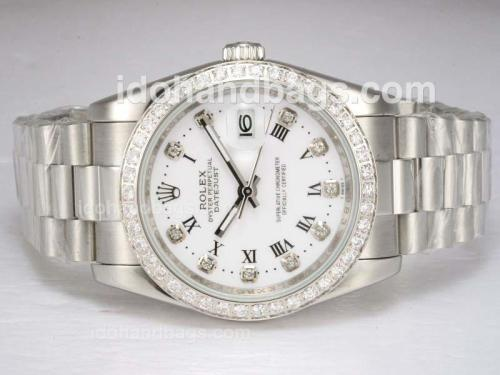 Rolex Datejust Diamond Marking and Bezel with White Dial 11822