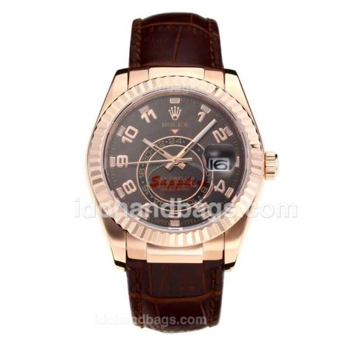 Rolex Sky Dweller Automatic Rose Gold Case with Coffee Dial-Leather Strap-Sapphire Glass 186294