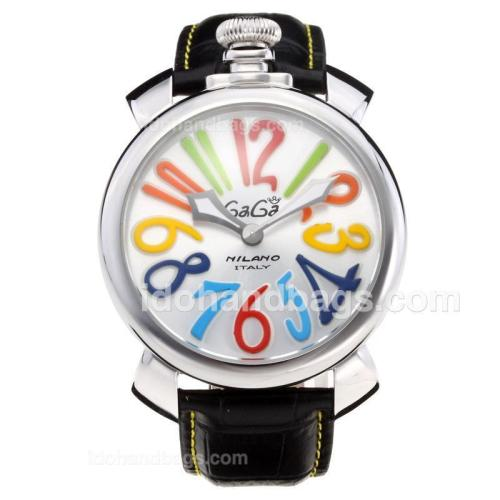 GaGa Milano with Silver Dial-Black Leather Strap 203822