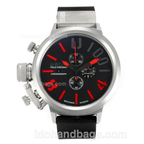 U-Boat Italo Fontana Working Chronograph with Black Dial-Red Markers 163198
