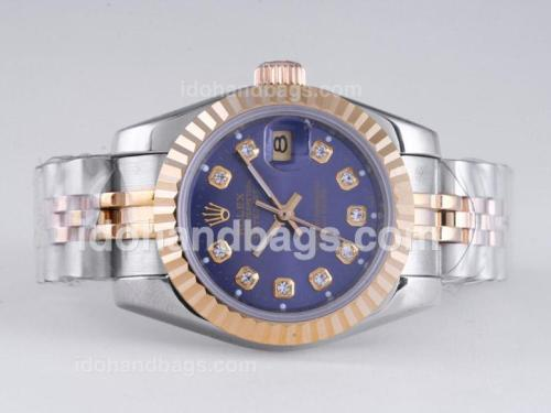 Rolex Datejust Automatic Two Tone Diamond Marking with Blue Dial 25950