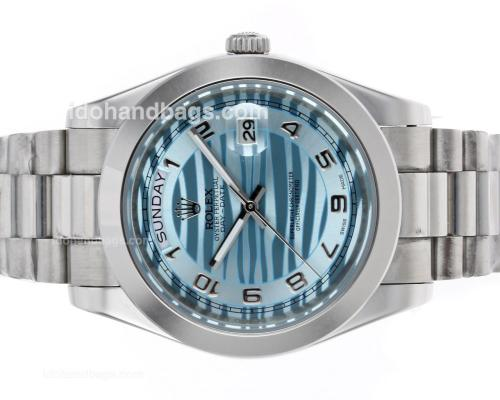 Rolex Day-Date II Automatic Number Markers with Blue Wave Dial 45278