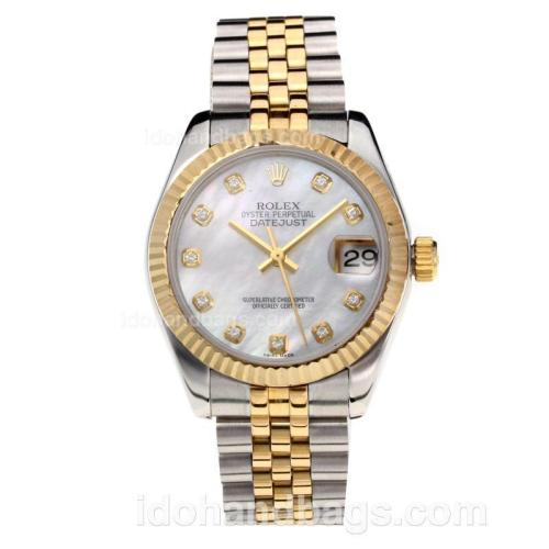 Rolex Datejust Swiss ETA 2355 Automatic Movement Two Tone with White Dial-Sapphire Glass 195248
