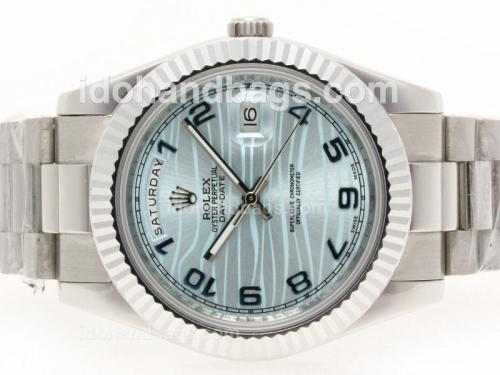 Rolex Day-Date II Automatic Number Marking with Blue Wave Dial-41mm Version 38309