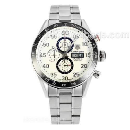 Tag Heuer Carrera Calibre 16 Day Date Working Chronograph Ceramic Bezel with White Dial S/S 149056