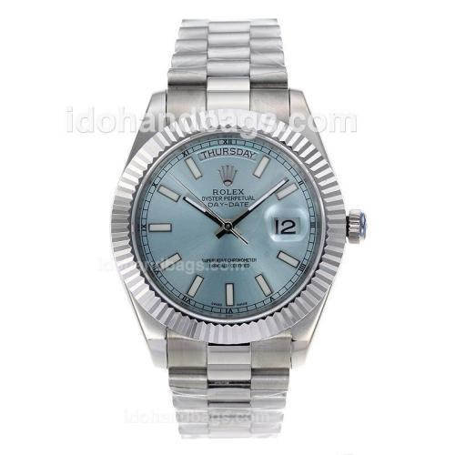 Rolex Day-Date II Swiss ETA 2836 Movement Stick Markers with Blue Dial S/S 60259