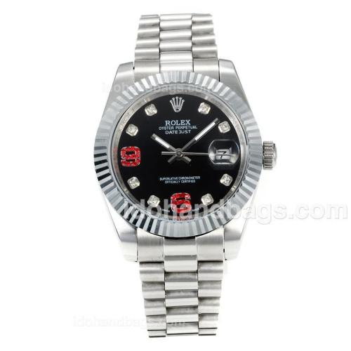 Rolex DateJust II Automatic Diamond Bezel with Black Dial S/S-Diamond Markers 167724