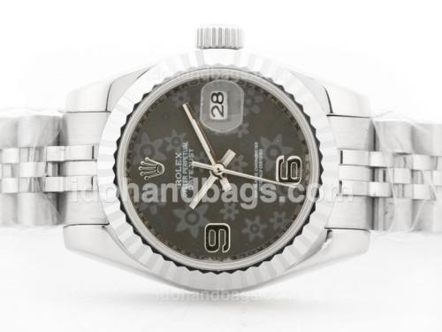 Rolex Datejust Automatic with Gray Floral Motif Dial -2009 New Version 32675