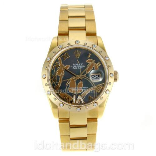 Rolex Datejust Automatic Full Gold Diamond Bezel Roman Markers with MOP Dial-Flowers Illustration 115606