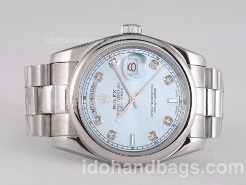 Rolex Day-Date Automatic Diamond Marking with Blue Dial 25780