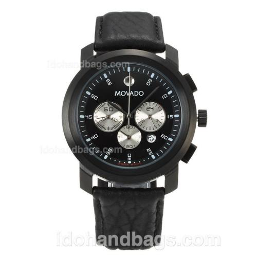 Movado Working Chronograph Full PVD with Black Dial-Leather Strap 167842
