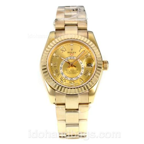 Rolex Sky Dweller Full Yellow Gold Automatic with Golden Dial-Sapphire Glass 175010