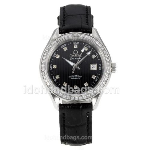 Omega Seamaster Diamond Bezel with Black Dial-Leather Strap-Sapphire Glass 173652