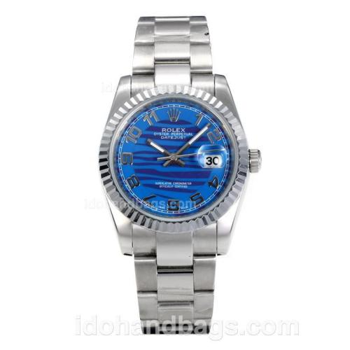 Rolex Datejust Automatic Number Markers with Dark Blue Waved Dial S/S 160004