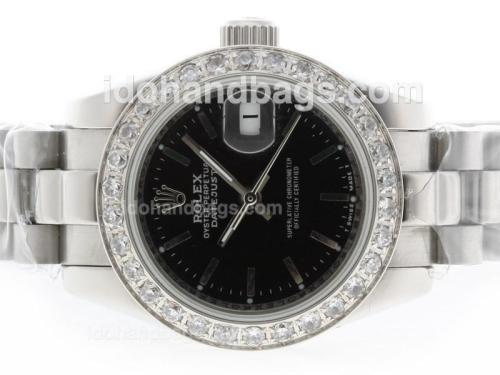 Rolex Datejust Automatic Diamond Bezel with Black Dial-Stick Marking 39835