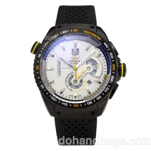 Tag Heuer Grand Carrera Calibre 36 Working Chronograph PVD Case with White Dial-Rubber Strap 203378