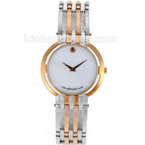 Movado Museum Two Tone Diamond Inner Bezel with White Dial-Sapphire Glass 119146