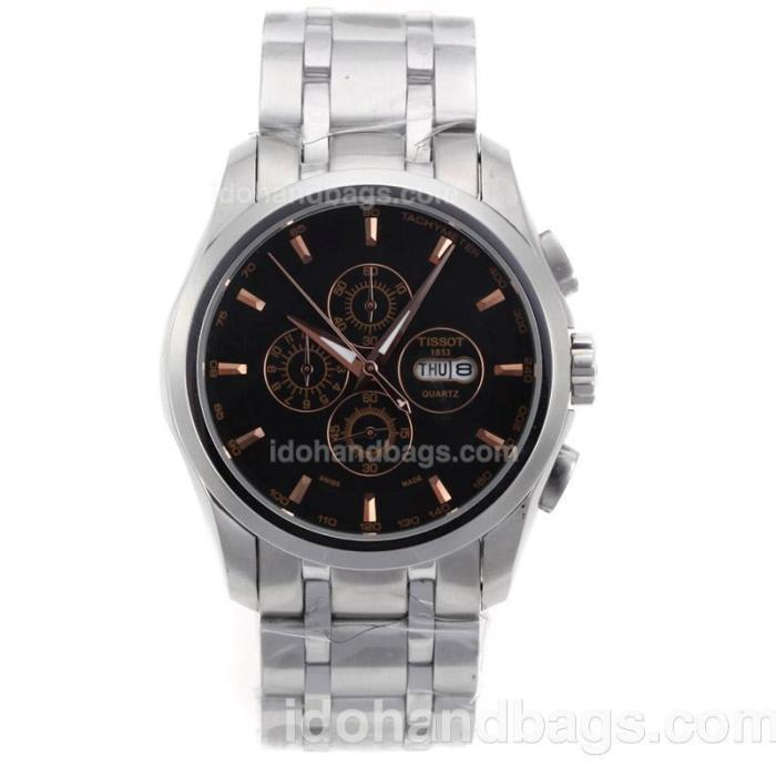 Tissot Sport Working Chronograph Rose Gold Markers with Black Dial S/S 70069