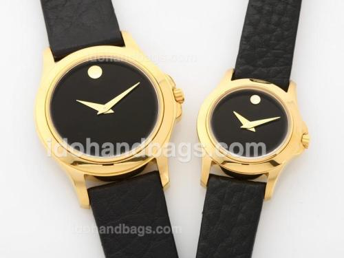Monvado Sport Edition 18K Gold Case with Black Dial-Couple Watch 32517
