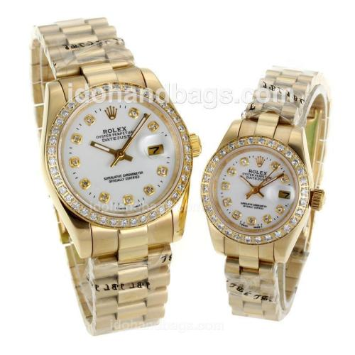 Rolex Datejust Automatic Full Gold Diamond Bezel and Markers with White Dial-Sapphire Glass 116580