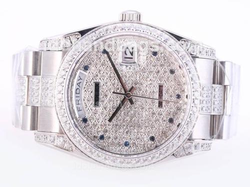 Rolex Day-Date Swiss ETA 2836 Movement With Full Diamond Dial-Blue Marking 23788