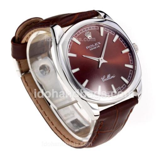 Rolex Cellini Luminous Swiss ETA Movement with Coffee Dial-Leather Strap-Sapphire Glass 194520
