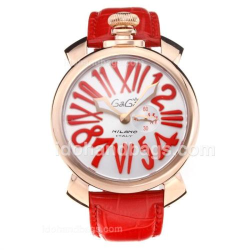 GaGa Milano Rose Gold Case with Silver Dial-Red Leather Strap 203834