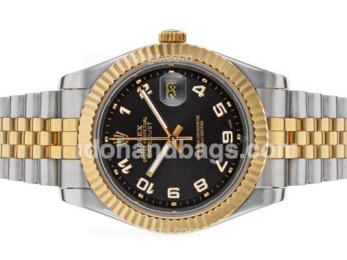 Rolex Datejust II Automatic Two Tone Number Markers with Black Dial 48525
