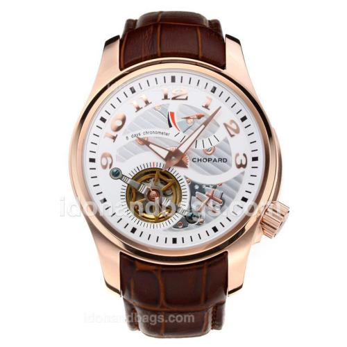 Chopard Classic Working Power Reserve Automatic Rose Gold Case Tourbillon with White Dial-Leather Strap 197266