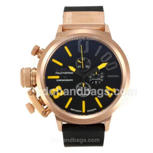 U-Boat Italo Fontana Working Chronograph Rose Gold Case with Black Dial-Yellow Markers 163178