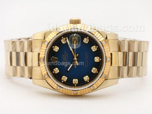 Rolex Datejust Automatic Full Gold Diamond Marking with Blue Dial 23382