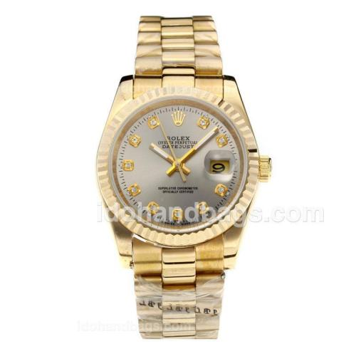 Rolex Datejust Automatic Full Gold Diamond Markers with Gray Dial 187808