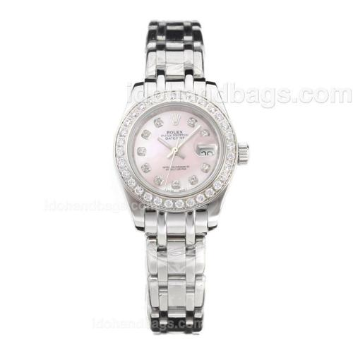 Rolex Masterpiece Automatic Diamond Bezel and Markers with Pink MOP Dial-Lady Size 183082